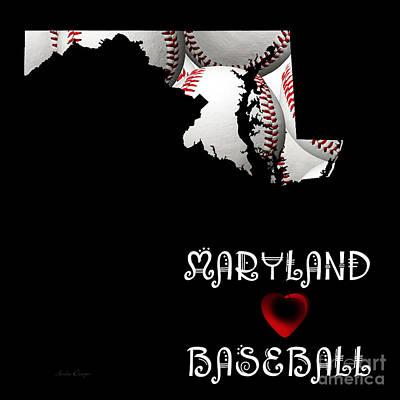 Digital Art - Maryland Loves Baseball by Andee Design