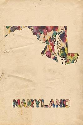 Painting - Maryland Map Vintage Watercolor by Florian Rodarte