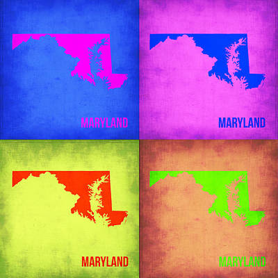 Maryland Painting - Maryland Pop Art Map 1 by Naxart Studio