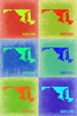 Maryland Painting - Maryland Pop Art Map 2 by Naxart Studio