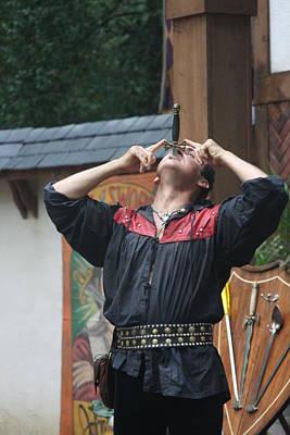 Aged Photograph - Maryland Renaissance Festival - Johnny Fox Sword Swallower - 121263 by DC Photographer