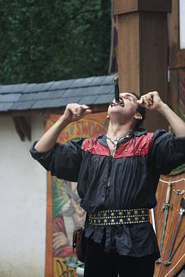 Aged Photograph - Maryland Renaissance Festival - Johnny Fox Sword Swallower - 121264 by DC Photographer