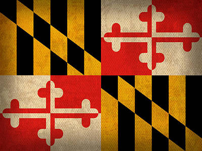 Maryland State Flag Art On Worn Canvas Art Print by Design Turnpike