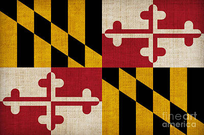 Landmarks Painting Royalty Free Images - Maryland state flag Royalty-Free Image by Pixel Chimp
