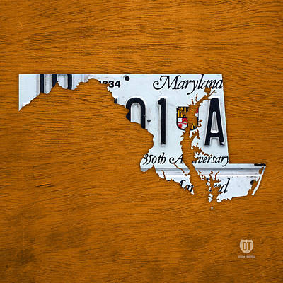 Baltimore Mixed Media - Maryland State License Plate Map by Design Turnpike