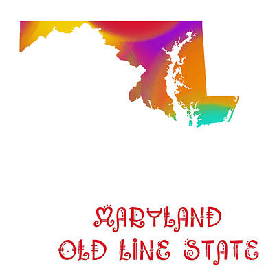 Digital Art - Maryland State Map Collection 2 by Andee Design