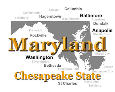 Photograph - Maryland State Pride Map Silhouette  by Keith Webber Jr