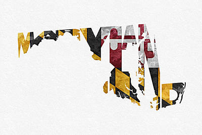 Watercolour Mixed Media - Maryland Typographic Map Flag by Ayse Deniz