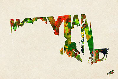 Painting - Maryland Typographic Watercolor Map by Inspirowl Design