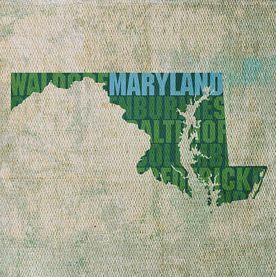 Word Art Mixed Media - Maryland Word Art State Map On Canvas by Design Turnpike