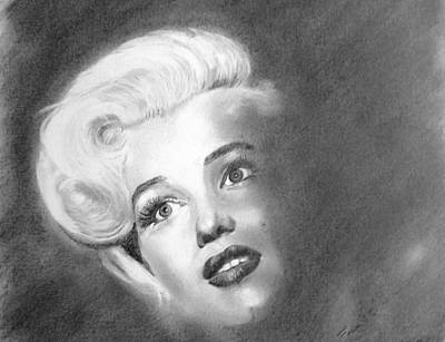 Drawing - Marilyn- In The Shadows by Derrick Parsons