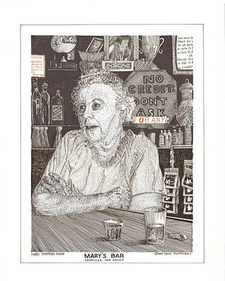 Drawing - Mary In Marys Bar Cerrillos New Mexico by Jack Pumphrey