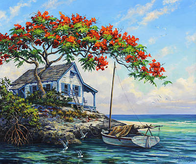 Dingy Painting - Mary's Cabin by Kevin Hutchinson