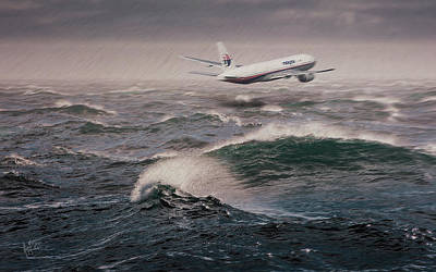 Painting - Mas Mh 370 9m-mro Lost by Nop Briex