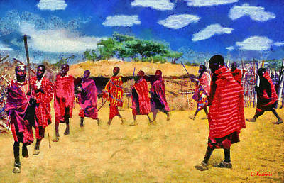 Rossidis Painting - Masai Dance by George Rossidis