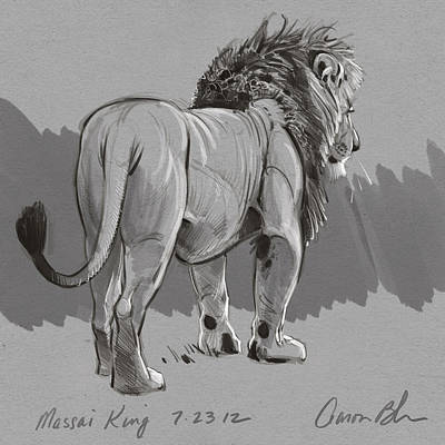 Drawing Digital Art - Masai King by Aaron Blaise