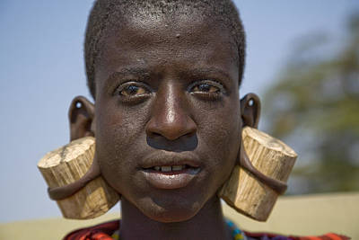 Pierced Ears Photograph - Masai Male With Huge Ear Piercings by David Litschel