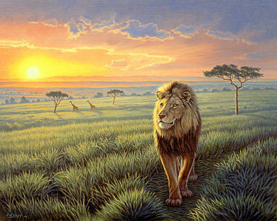 Wildlife Landscape Painting - Masai Mara Sunset by Paul Krapf