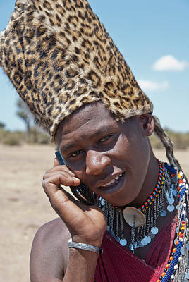 Positivity Photograph - Masai Using Phone by Mesha Zelkovich