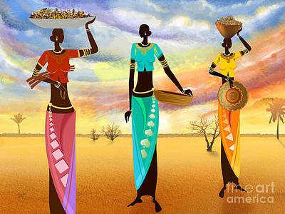 African Traditional Dances Digital Art - Masai Women Quest For Grains by Bedros Awak