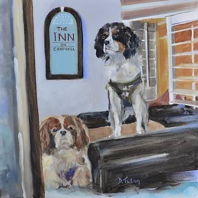 Dog Caricature Painting - Mascots Of The Inn by Donna Tuten