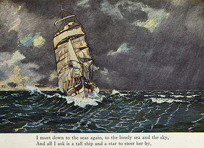 Storm Clouds Drawing - Masefield Sea Fever, 1902 by Granger