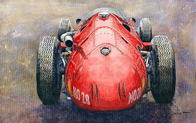 Watercolor Sports Painting - Maserati 250f Back View by Yuriy Shevchuk