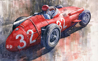 Watercolor Sports Painting - Maserati 250f J M Fangio Monaco Gp 1957 by Yuriy  Shevchuk