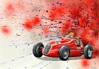 Sportscar Painting - Maserati 6 Cm by MICHAUX Michel