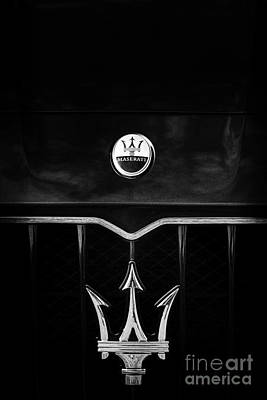 Automobile Hood Photograph - Maserati Quattroporte Monochrome by Tim Gainey
