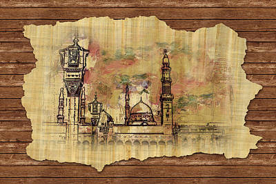 Caligraphy Painting - Masjid E Nabwi Sketch by Catf