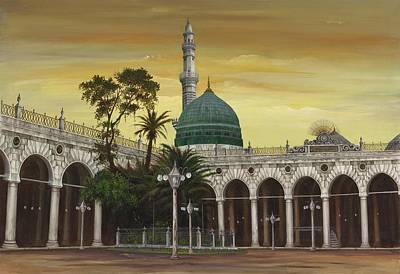 Saudia Painting - Masjide Nabavi by S N Viquar