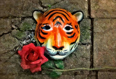 Yellow Cat Digital Art - Mask And Rose by Jeff  Gettis