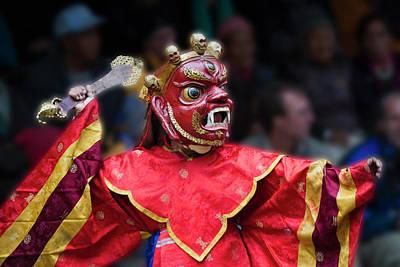 Asian Culture Photograph - Mask Dance Performance At Ladakh by Keren Su