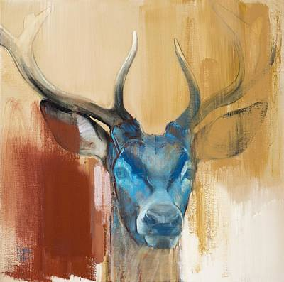 Stags Painting - Mask by Mark Adlington