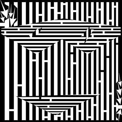 Yfrimer Drawing - Mask Of The Maze  by Yonatan Frimer Maze Artist