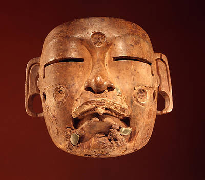 Precolumbian Photograph - Mask, Olmec Culture Wood by Pre-Columbian