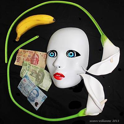 Mask With Money And Flowers Original