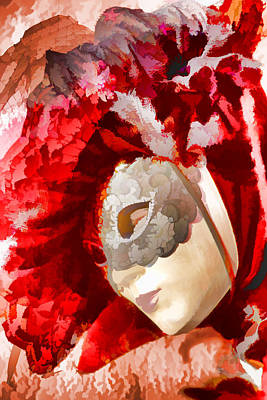 Photograph - Mask Women In Red by Indiana Zuckerman