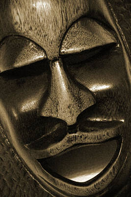 Mask1734 Sepia Art Print by Carolyn Stagger Cokley