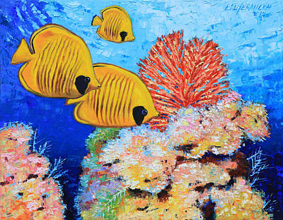 Fish Underwater Painting - Masked Butterfly Fish by John Lautermilch
