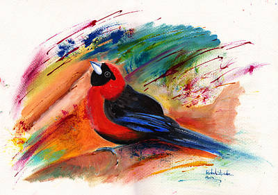 Surrealistic Painting - Masked Crimson Tanager by Isabel Salvador