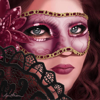 Brown Hair Digital Art - Masked II by April Moen