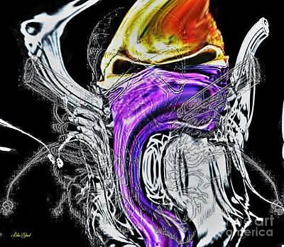 Skulls Digital Art - Masked Skull In Abstract by Blair Stuart