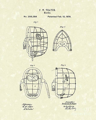 Protection Drawing - Masks 1878 Patent Art by Prior Art Design