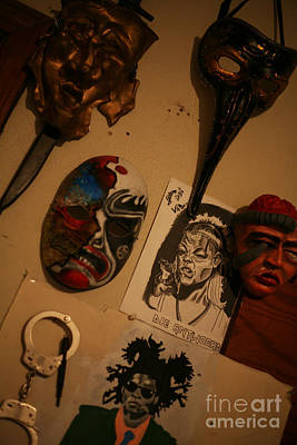 Basquiat Drawing - Masks On Wall by J Ethan Hopper