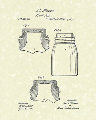 Glass Drawing - Mason Fruit Jar 1870 Patent Art by Prior Art Design