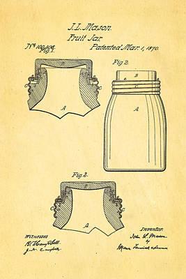 1870 Photograph - Mason Fruit Jar Patent Art 1870 by Ian Monk