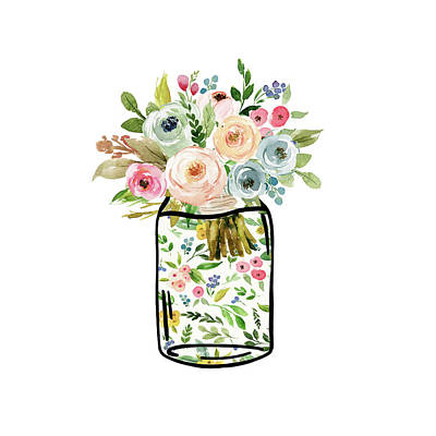 Mason Jar Bouquet Art Print
