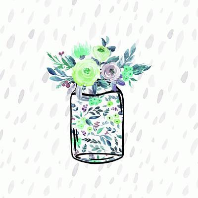 Mason Jar Florals Art Print